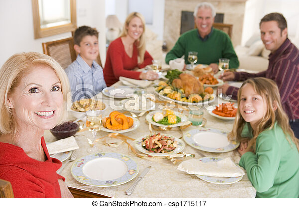 dîner, tout ensemble, noël famille - csp1715117