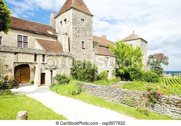 de, gevrey-chambertin, nuits, france, cote, bourgogne, château - csp3977632