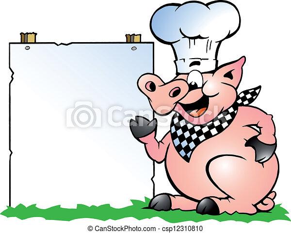 debout, cochon, chef cuistot, pointage - csp12310810