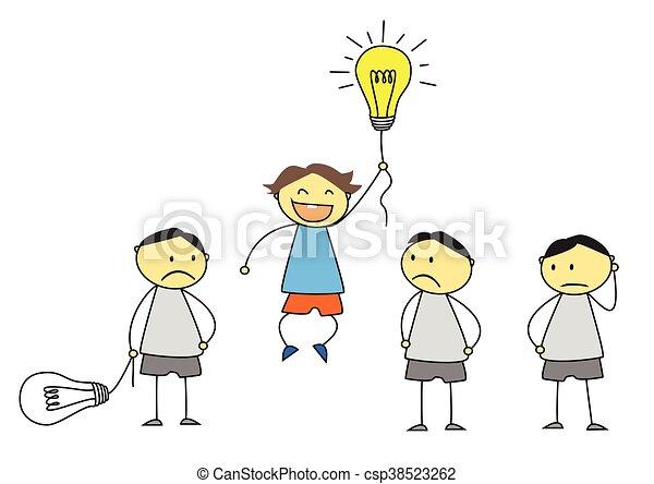 debout, concept, créativité, foule, dehors - csp38523262