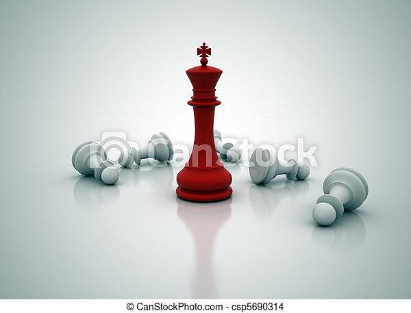debout, roi, sur, -, jeu, échecs - csp5690314