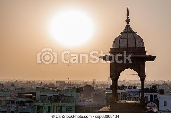 delhi, coucher soleil, sur, vieux, indi - csp63008434