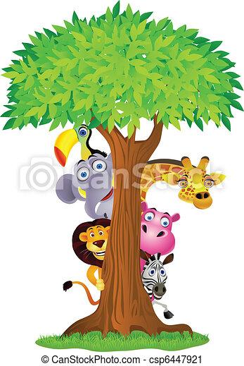 derrière, arbre, dessin animé, animal, dissimulation - csp6447921
