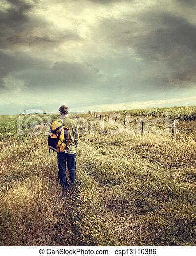 descendre route, homme, pays - csp13110386