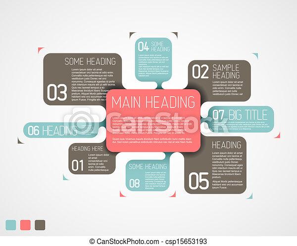 descriptif, diagramme, vecteur, divers, retro, gabarit, bulles - csp15653193