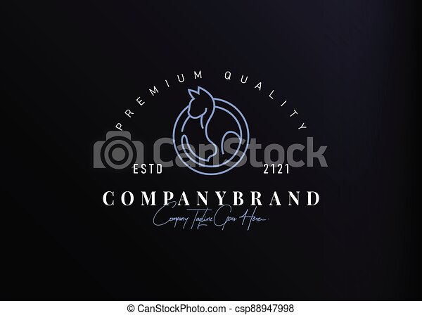design., simple, gabarit, icône, illustration, ligne, séance, logo, monoline, conception, vecteur, chat, vendange - csp88947998