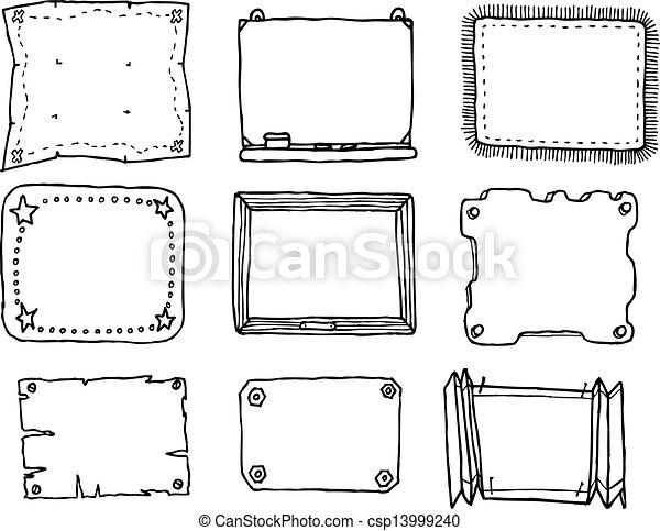 dessiné, cadre, vecteur, ensemble, main - csp13999240
