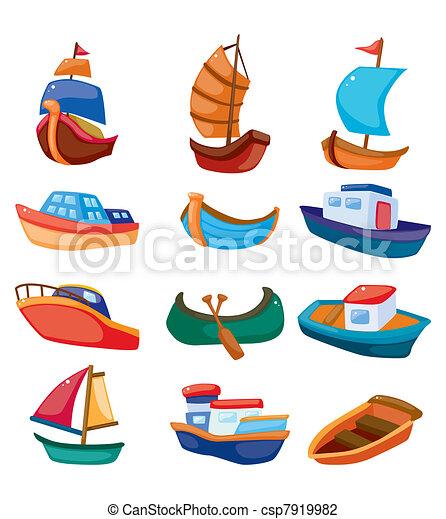 dessin animé, bateau, icône - csp7919982