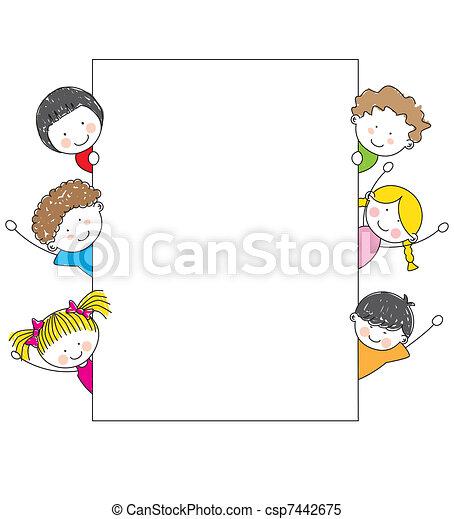 dessin animé, cadre, gosses, mignon - csp7442675