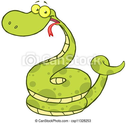 dessin animé, caractère, serpent, mascotte - csp11328253