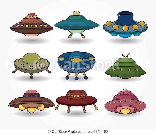 dessin animé, ensemble, icône, ovnis, vaisseau spatial - csp6724460