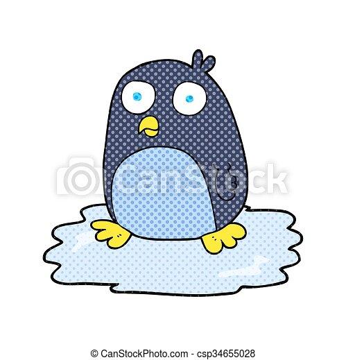 dessin animé, glace, manchots - csp34655028
