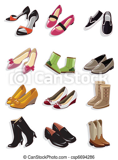 dessin animé, icône, chaussures - csp6694286