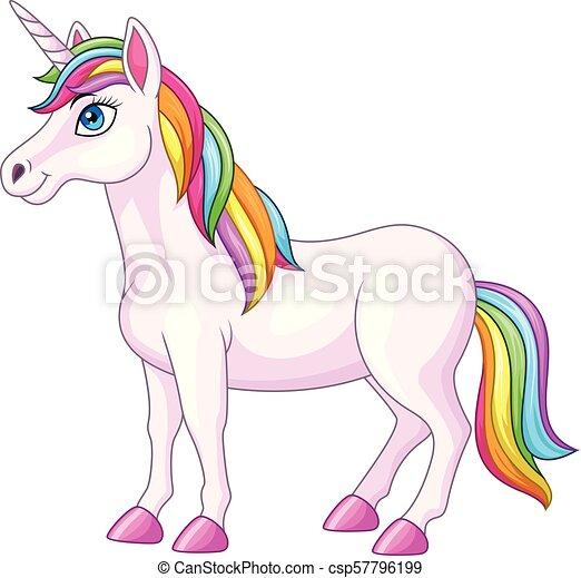 dessin animé, licorne, arc-en-ciel, cheval - csp57796199