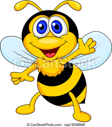 dessin animé, mignon, onduler, abeille - csp13008848