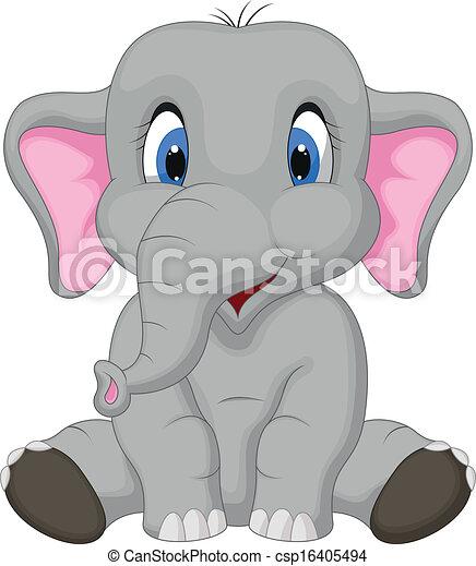 dessin animé, mignon, séance, éléphant - csp16405494