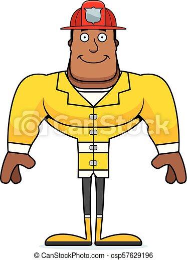 dessin animé, pompier, sourire - csp57629196
