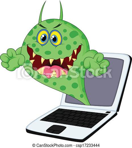 dessin animé, virus, ordinateur portable - csp17233444