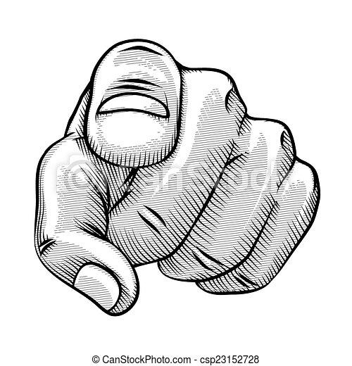 dessin ligne, doigt indique, retro - csp23152728