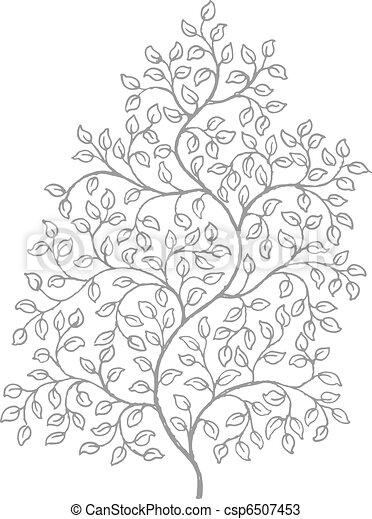 dessin, vignes, bouclé, orné, élégant - csp6507453