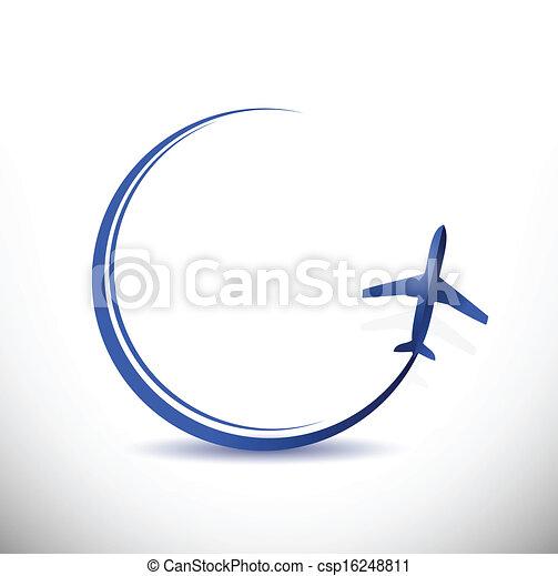 destination, voyage, concept, illustration, avion - csp16248811