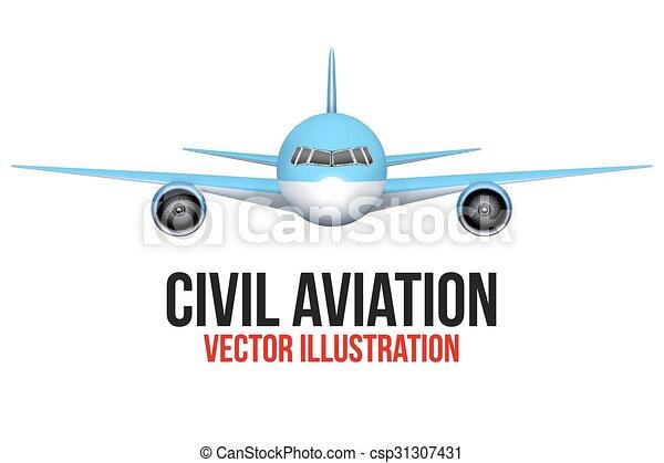 devant, civil, avion, vue - csp31307431