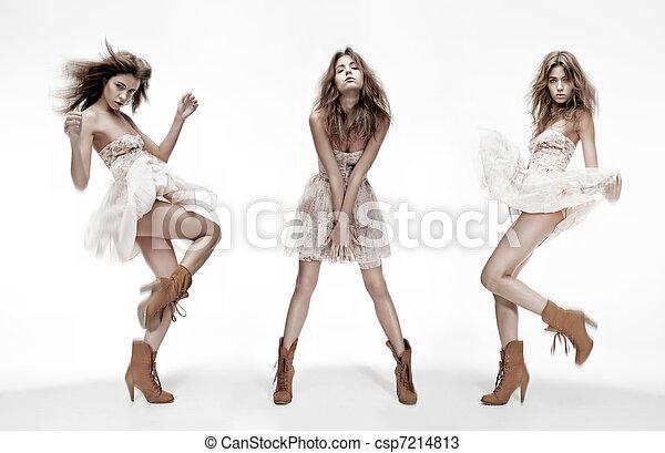 différent, mode, image, triple, modèle, poses - csp7214813