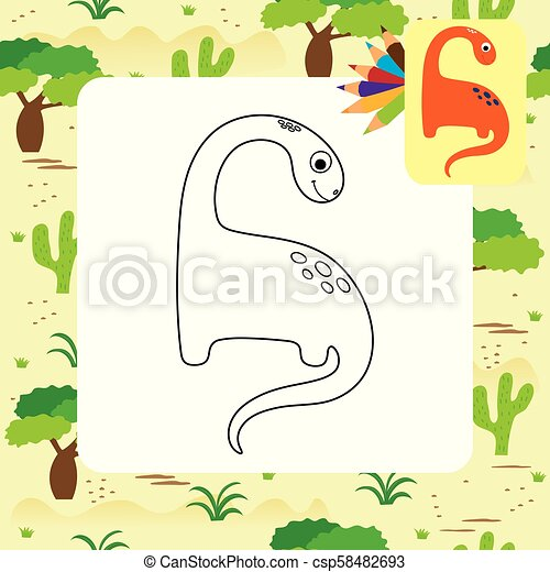 dino, mignon, coloration, dessin animé, livre - csp58482693