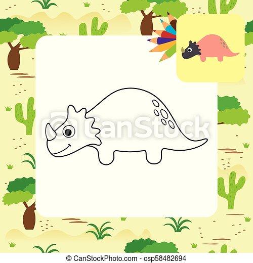 dino, mignon, coloration, dessin animé, livre - csp58482694