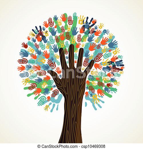 diversité, arbre, isolé, mains - csp10469308