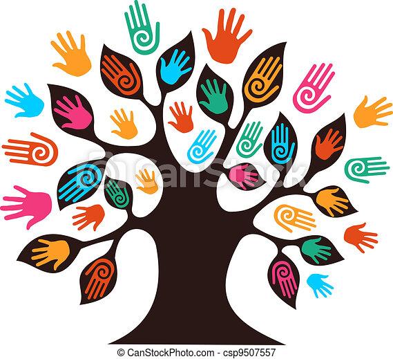 diversité, arbre, isolé, mains - csp9507557