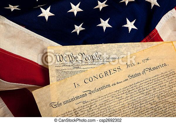 documents, américain, historique, drapeau - csp2692302