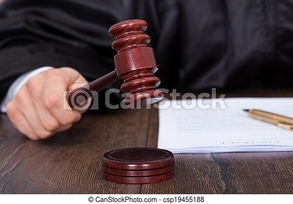 donner, frapper, juge, verdict, maillet - csp19455188