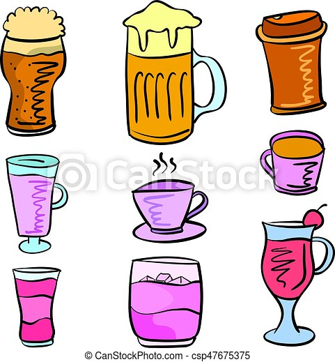 doodles, ensemble, boisson, divers, collection - csp47675375