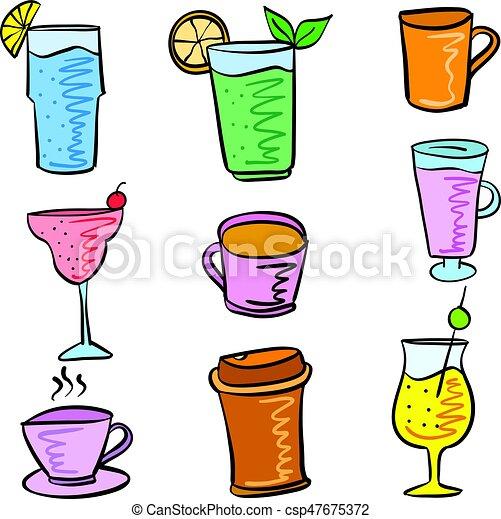 doodles, ensemble, divers, coloré, boisson - csp47675372