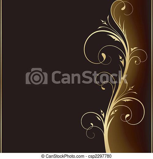doré, éléments, sombre, élégant, conception, fond, floral - csp2297780