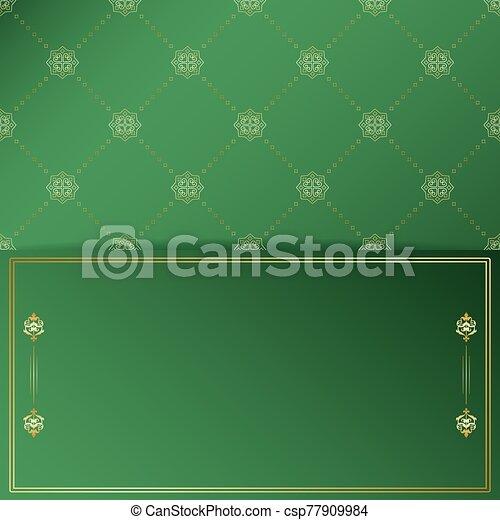 doré, ornement, vecteur, cadre, arrière-plan vert, vendange - csp77909984