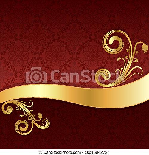doré, papier peint, vague, décoration, arrière-plan., floral, rouges - csp16942724