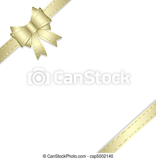 doré, ruban, isolé, arc don - csp5002140