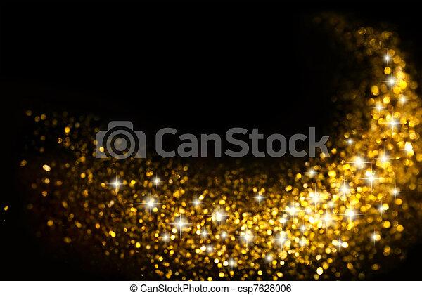 doré, scintillement, fond, étoiles, piste - csp7628006