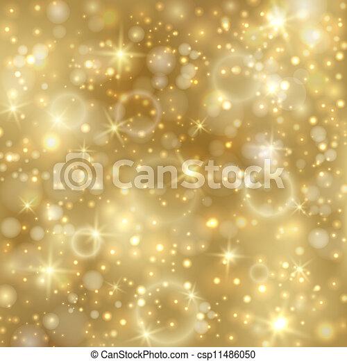 doré, twinkly, étoiles, fond, lumières - csp11486050