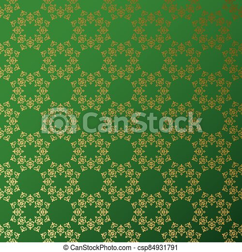 doré, vecteur, ornement, fond, vert - csp84931791