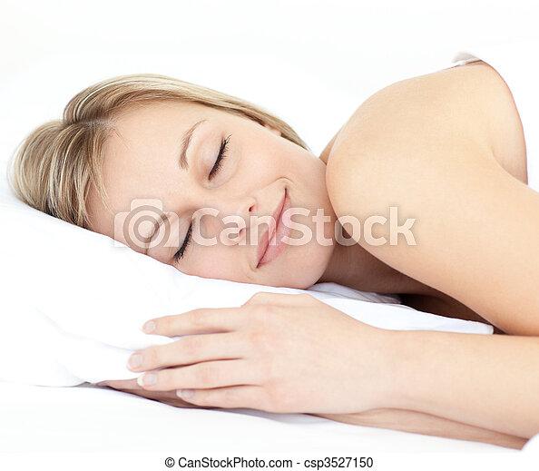 dormir, femme, lit, radiant, elle - csp3527150
