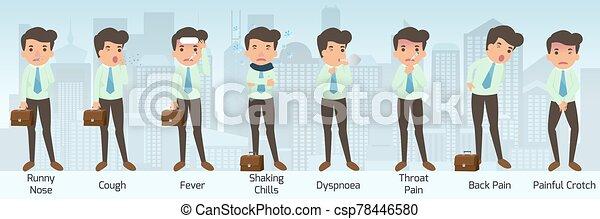douleur, dyspnoea, maladie, douloureux, nez, liquide, avoir, pose., froids, dos, vecteur, toux, symptômes, illustration., entrecuisse, homme affaires, secousse, fièvre, gorge, divers, maladie - csp78446580