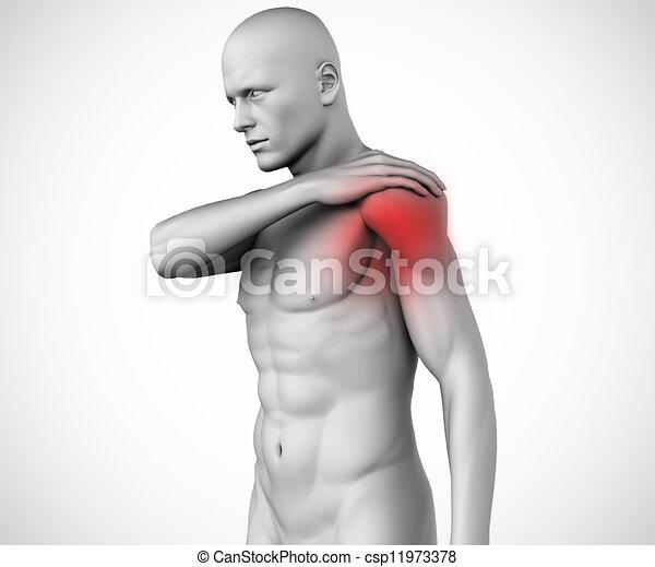 douleur, figure, épaule humaine, mis valeur - csp11973378