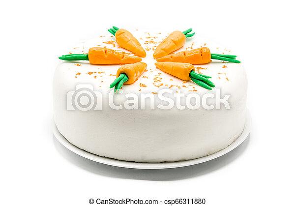 doux, isolé, carotte, fond, gâteau, blanc - csp66311880