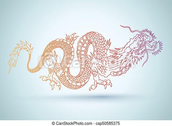 dragon., chinois, coloré - csp50585375