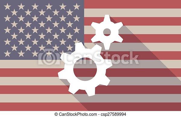 drapeau, engrenages, usa, icône - csp27589994