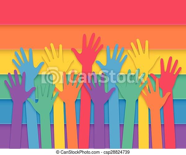 drapeau, fierté, élévation, mains - csp28824739