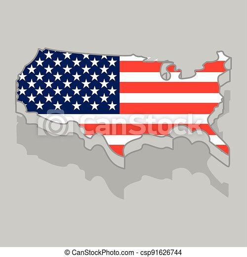 drapeau, isolé, usa, 3d, carte - csp91626744